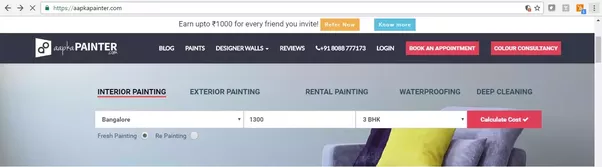 what is the painting cost for 1300 square feet in bangalore quora