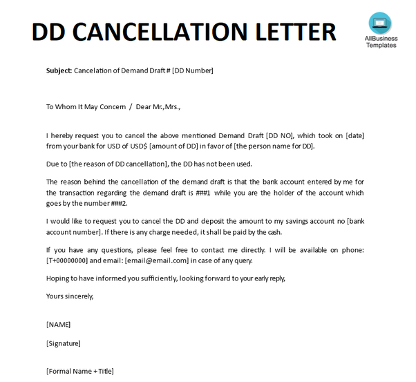 dd cancellation letter to hdfc bank