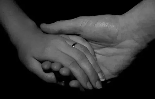 Holding Hands Black And White Image Intimacy