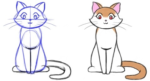 Can someone teach me how to draw an anime cat step by step quora after it you can pass to do somthing more advanced altavistaventures Gallery