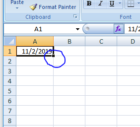 How to automatically fill a column with a series of dates in