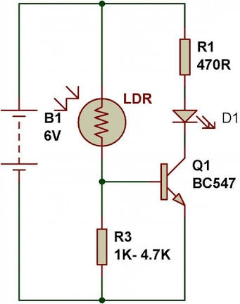 How does a light dependent resistor (LDR) control a transistor ...