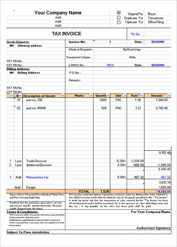 Movers and packers invoice format filetype pdf