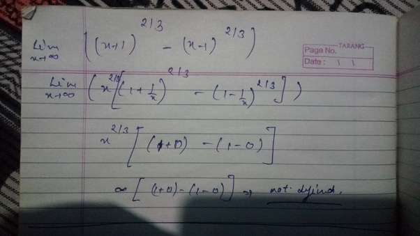 What Is The Limit Of (x+1) ^2/3-(x-1) ^2/3 As X Tends To
