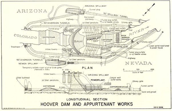 Inside The Outer Diversion Tunnel Of Hoover Dam On The Arizona Side