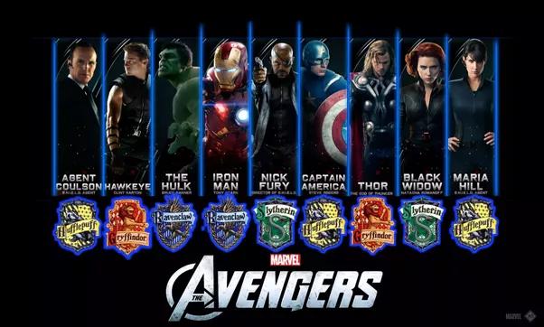 Iron Man Ravenclaw Fury Slytherin Cap Hufflepuff Thor Gryffindor Black Widow Maria Hill