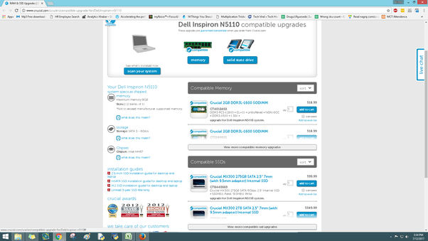 Can a Dell Inspiron i5 N5110 2 4GHz be upgraded to 12GB RAM? - Quora
