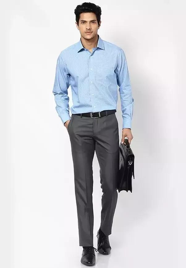 What color pants suit a blue shirt? - Quora