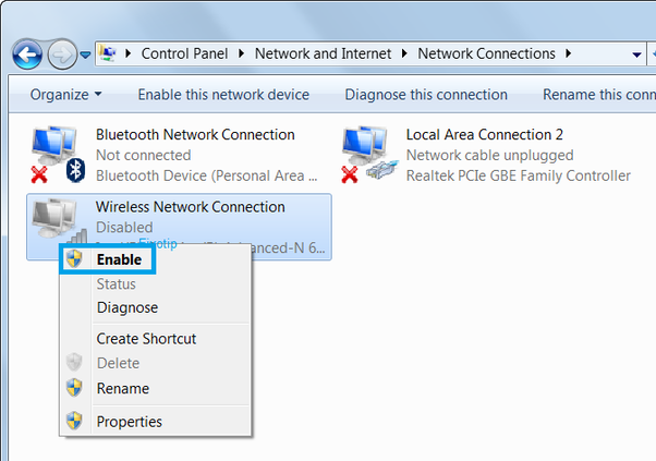 On Windows 10, wifi is shown as disabled and does not enable  How do