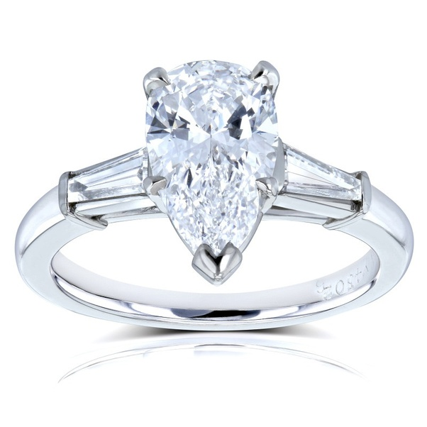 Van Cleef Pear Brilliant Diamond Three Stone Engagement Ring 2 1 10 Ctw In Platinum Gia Certified