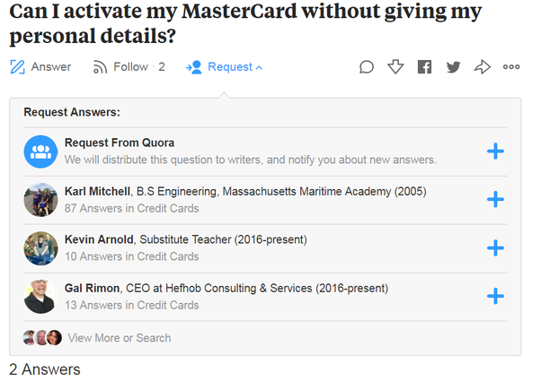 Are Quora questions I've seen indicating one person in the log as