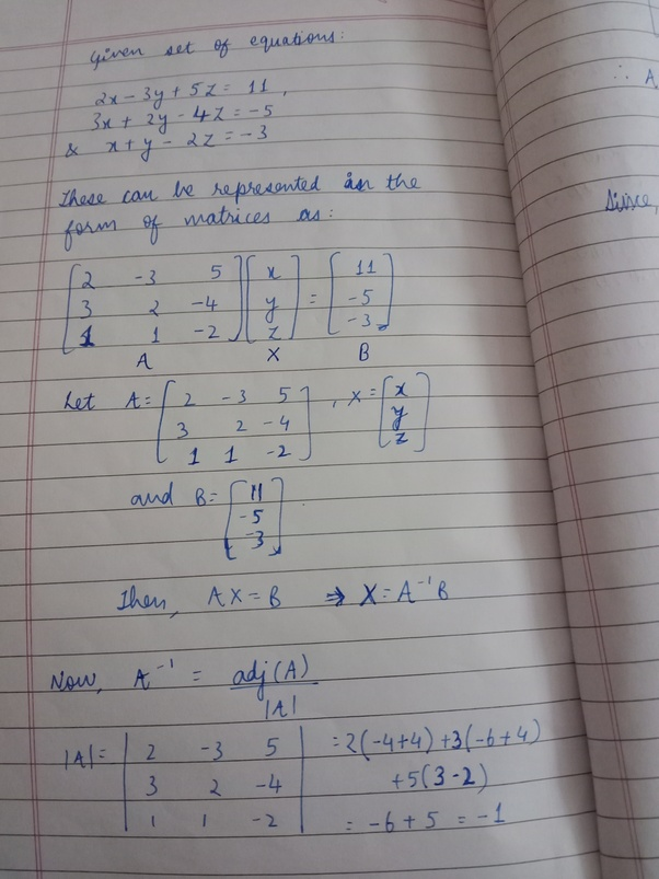 Using Matrices Solve The Following System Of Equations 2x 3y