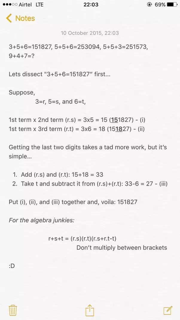 If 3+5+6 = 151872 5+5+6 = 253094 5+6+7 = 303585 5+5+3 = 251573, then ...