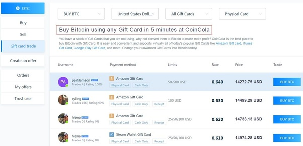 Where can I sell gift cards for Bitcoin? - Quora