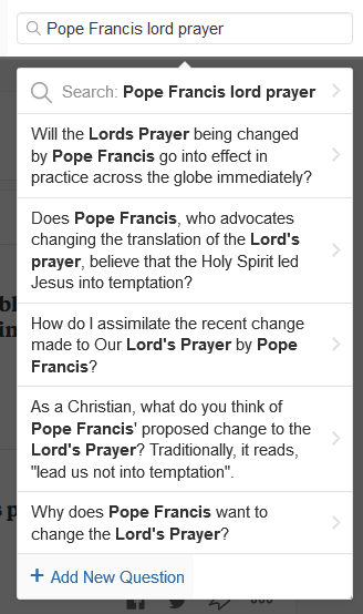 If Pope Francis changes the Lord's Prayer, will you still see him