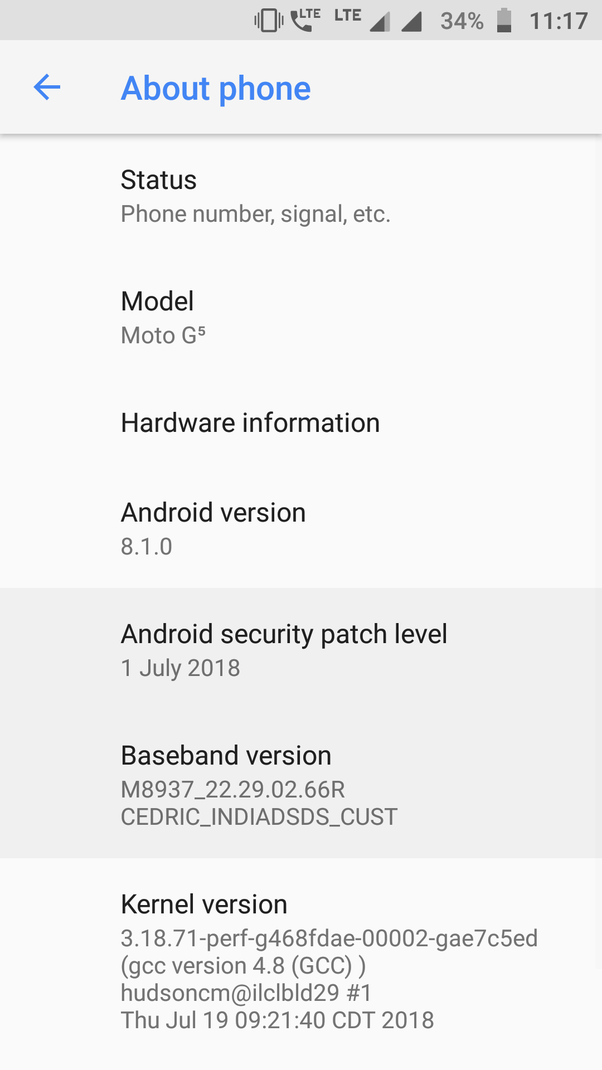 When will I get the Oreo 8 0 or 8 1 update for my Moto G5