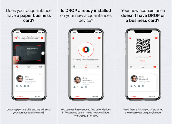 What are some features or functionalities that would increase the drop can work even if the other person doesnt have drop they can either give your their business card or scan a qr code with your information colourmoves