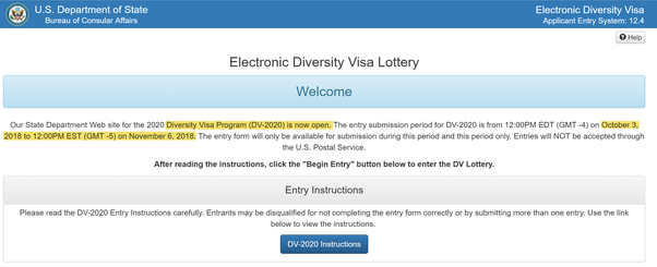 When will the 2020 diversity visa lottery open, or has it been cancelled by  the US government? - Quora