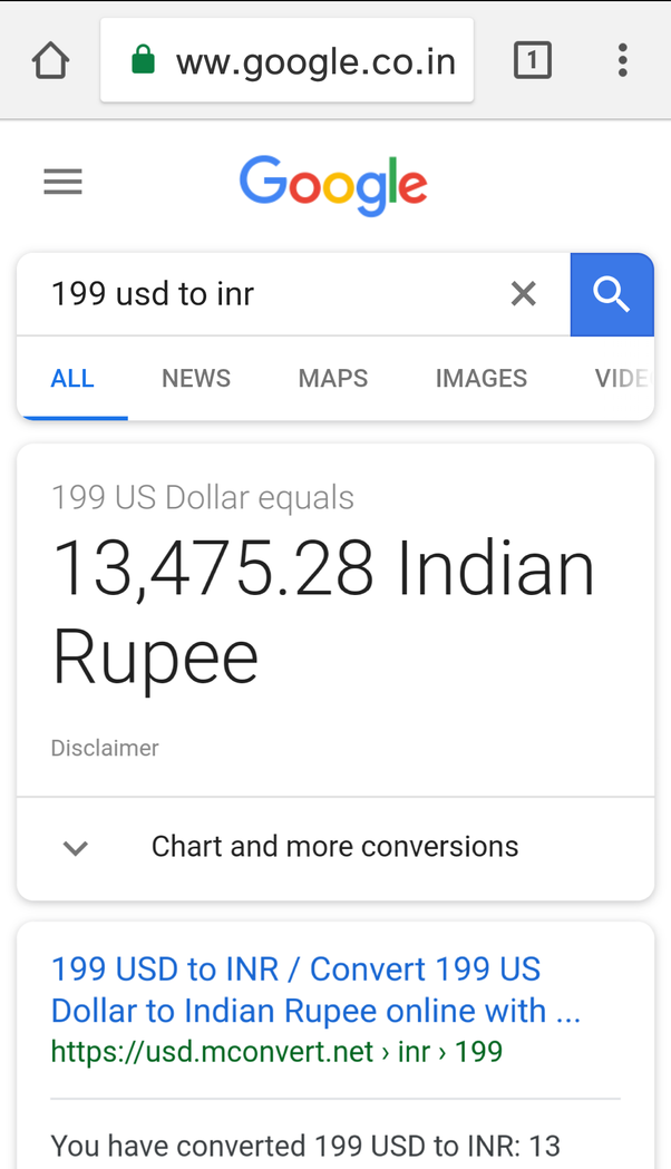 X Represents The Dollar Amount In Your Case 199 As Of Today 17th May 2018 Its 13475 28 Inr You Can Use This Functionality With All Currencies