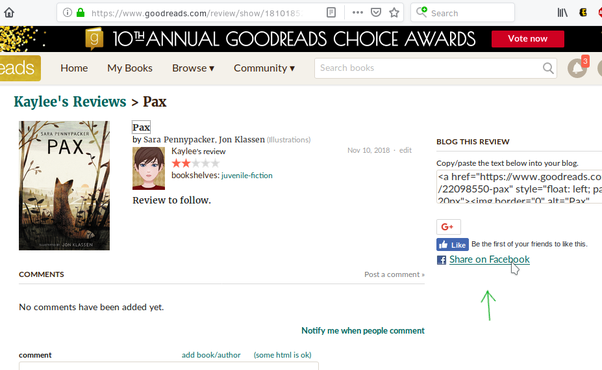 How to share a Goodreads rating on my Facebook timeline - Quora