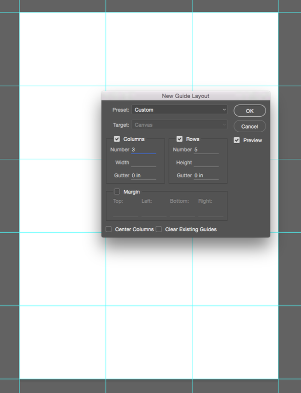 how to split a4 paper into a 3x6 grid using photoshop