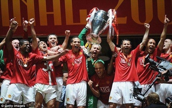Manchester United Celebrate The 2008 UEFA Champions League Final Win After A Penalty Shootout Victory Over Chelsea In Moscow