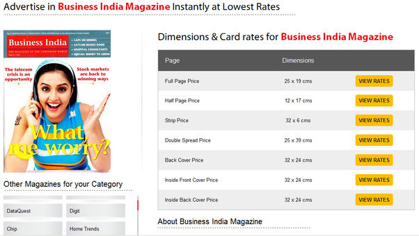Visit Here  Book Your Magazine Advertisement Instantly  ReleaseMyAd And  Select Your Category Of Magazine, Audience And Language Also.