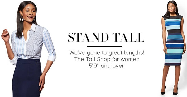 """e81ea5b5cc3416 ... was """"just about anywhere"""", there are retail sellers like this one who  offer styles especially designed for taller women: NY&C: Tall Women's Tops  