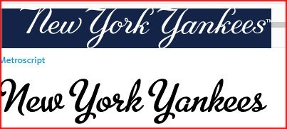 What is the new york yankees font quora new york yankees website isnt metroscript heres a copy of the official yankees script from their home page and above the same words in metroscript publicscrutiny Choice Image