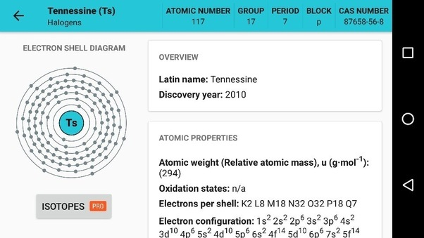 Periodic table what is element 117 uus what are its properties you can get this app in the play store for free and yeah i took this screenshot with my phone urtaz Choice Image