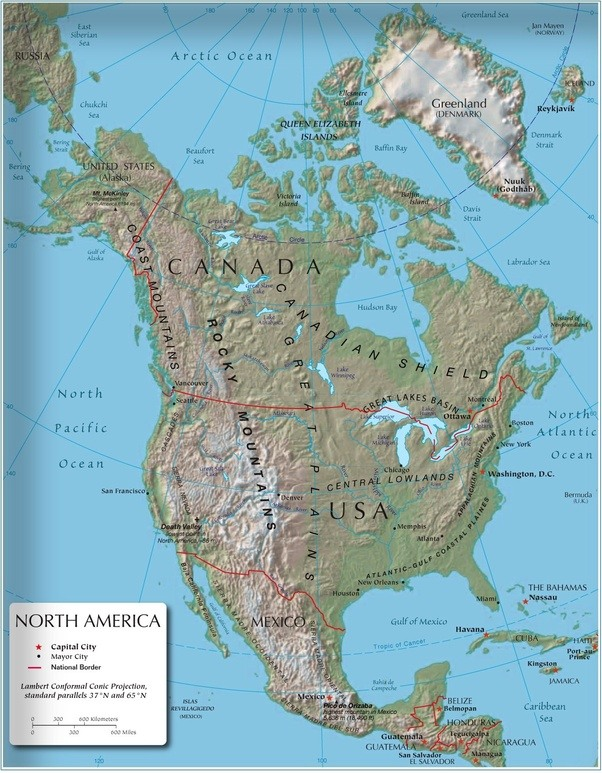 What geographic features does Canada and the United States share ...