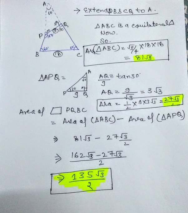In the figure, PQRS is a quadrilateral. If QR is 18 cm ...