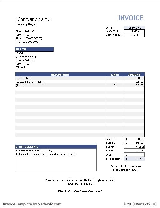 An Example Of An Invoice Template Is Below:  Invoice Billing