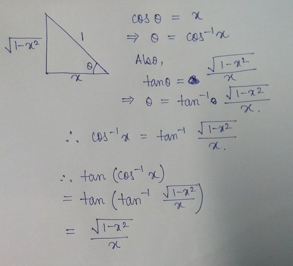 What Is Tan (cos Inverse Of X) = ?