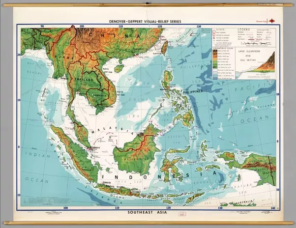 geography look at a topographical map of se asia