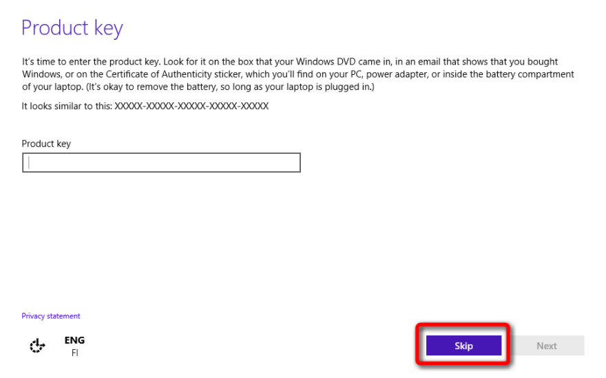 its time to enter the product key windows 10