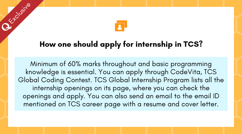 How one should apply for internship in TCS? - Quora