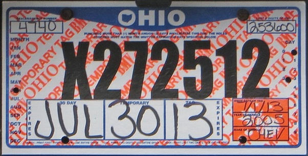 Temporary Tags Expired >> When Does Your Temporary Tag Expire In Ohio Quora