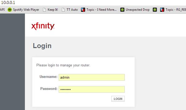 default xfinity gateway login