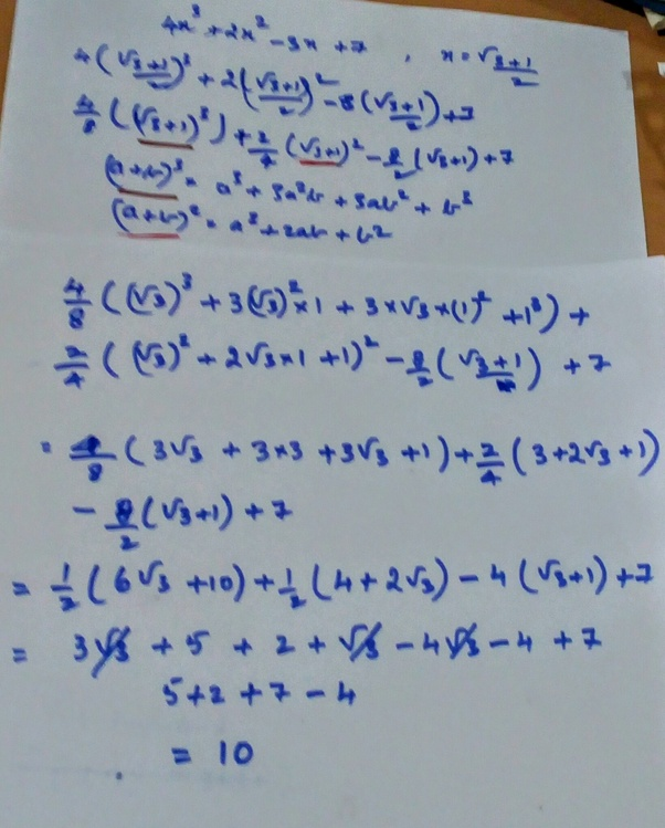 What Is The Value Of 4x32x2 8x7 If X 31 2 Quora