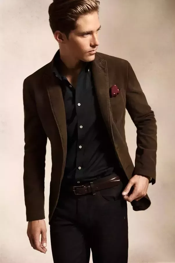 Which coloured blazer matches with black trousers and a black ...