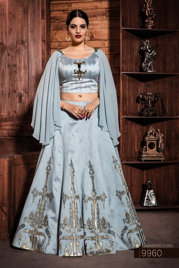 6b5025d87b You will get stylish and trendy crop top lehengas in different patterns,  colors and fabrics.
