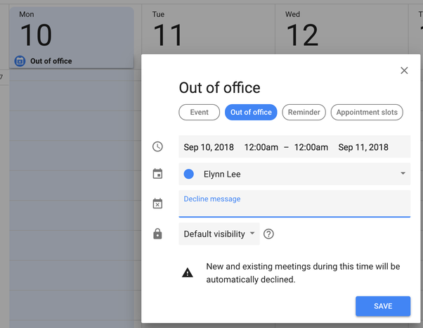 Does Google Calendar provide an option to delete or decline