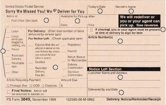 Usps Redelivery Ps Form 3849 Complete Information - #Summer