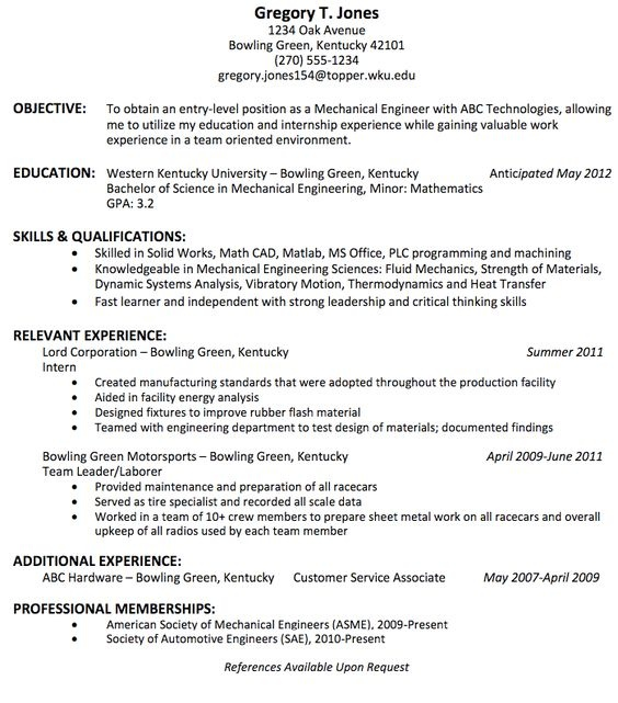 resume mechanical engineer resume sample