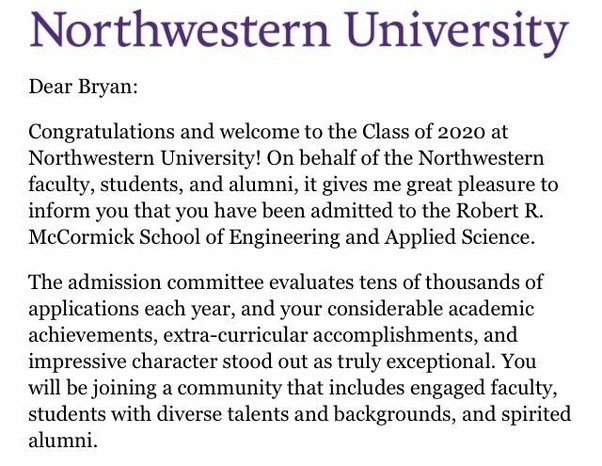What does your college acceptance or rejection letter looks like