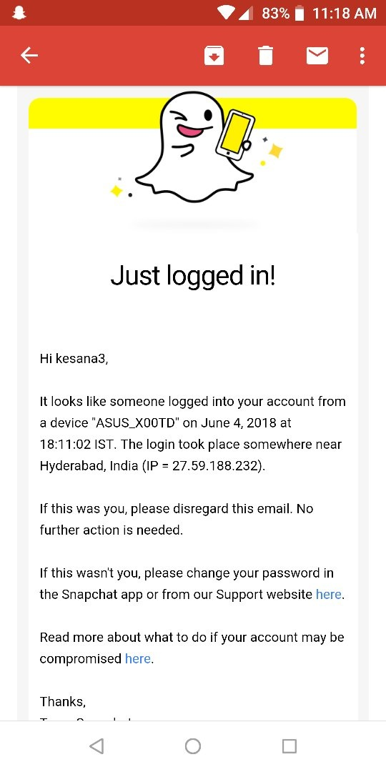 Does Snapchat notify you when someone logs into your account