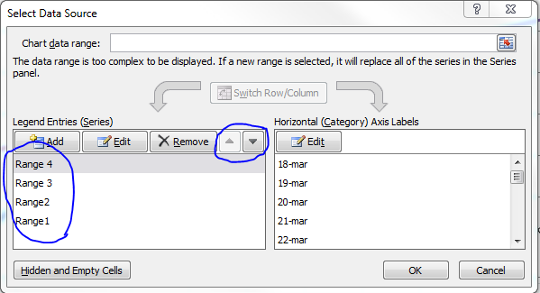 exel how to change x axis range