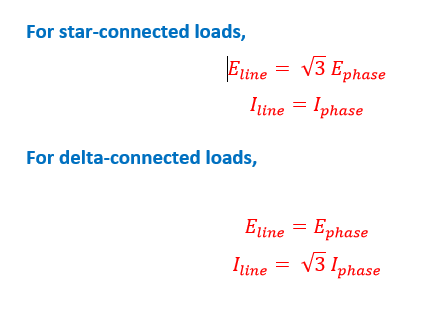 What is the voltage/current relation in a star and delta