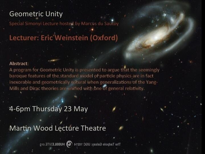 What was the reaction to Eric Weinstein's May 23rd lecture at Oxford